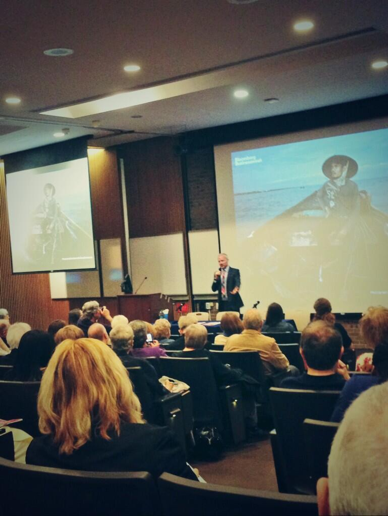E. Benjamin Skinner speaks to the St. John's community about human trafficking. Photo: twitter.com/dialogue2peace