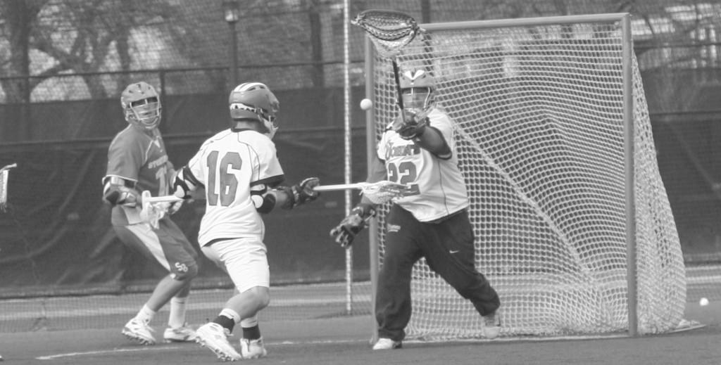Goalkeeper Jeff Lowman made 14 saves, but that was not enough to stop a six-goal run by Stony Brook in the first quarter on March 15.