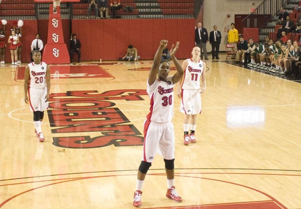 Coco Hart led the team with 15 points and five rebounds in her final game with the Red Storm