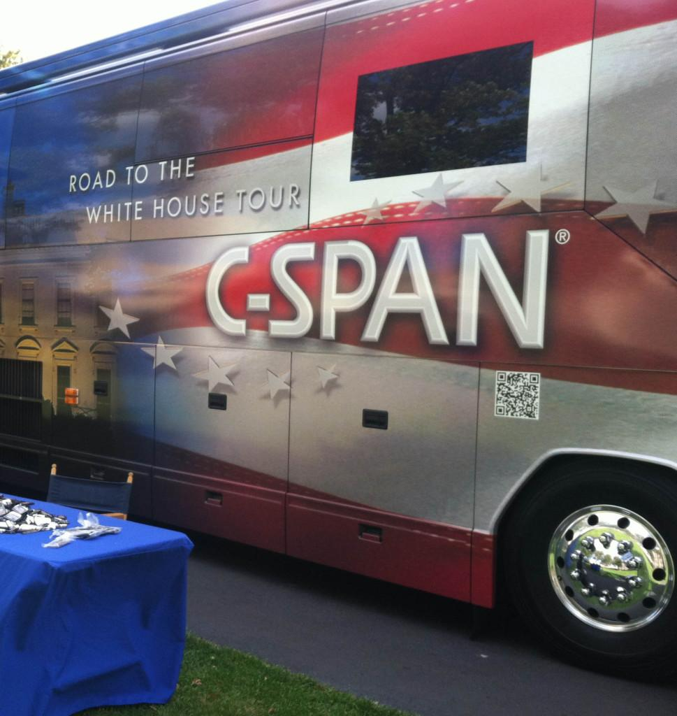 C-SPAN+campaign+bus+parks+on+Great+Lawn