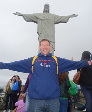 Joseph Reis, a senior psychology major, goes to Rio de Janiero for World Youth Day.