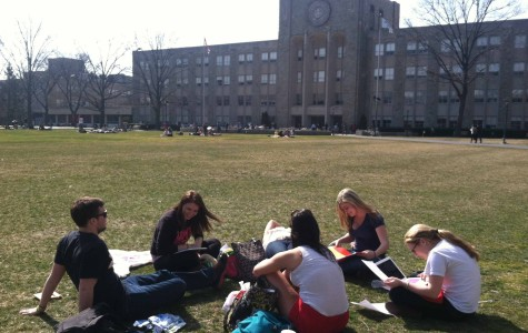 Students relax on campus during finals week last semester