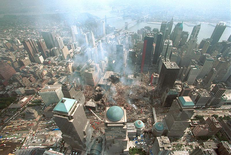 Aerial view of Ground Zero after the Sept. 11 attacks on the World Trade Center. The Manhattan campus is a few blocks away.