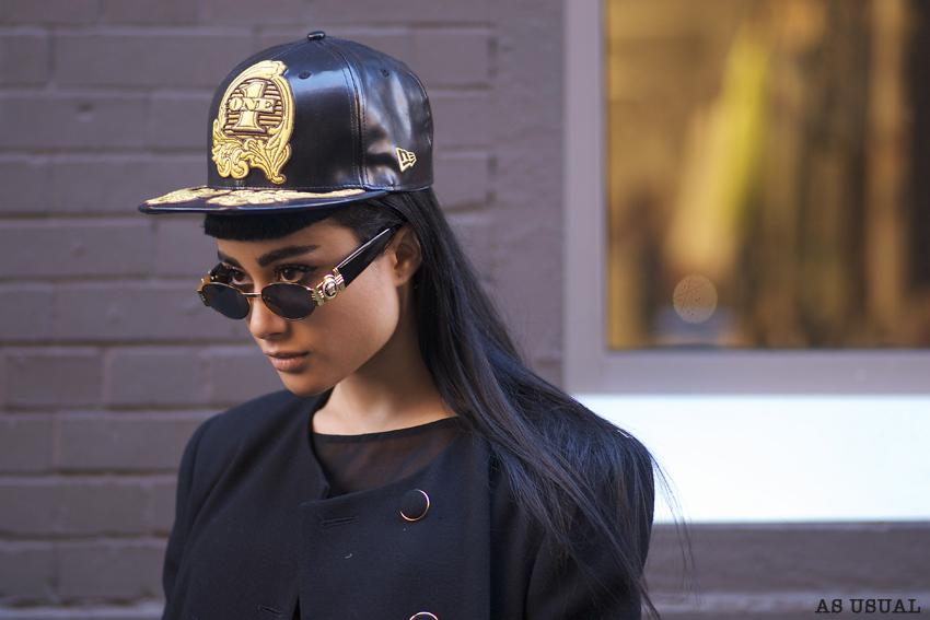 Natalia Kills stops to pose for a photo outside of a fashion week event in NY.