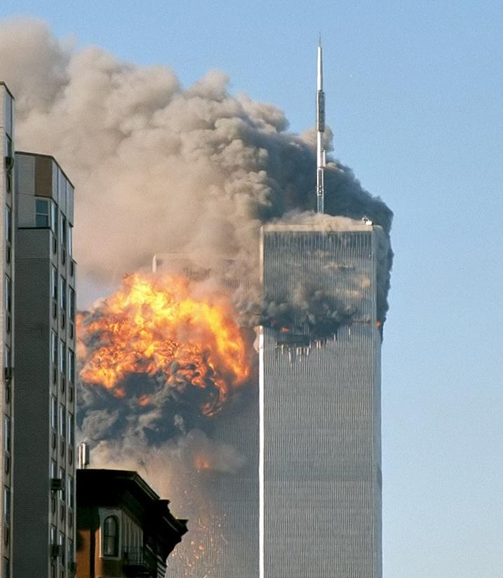 World Trade Center towers on September 11, 2001, just moments after they were attacked.