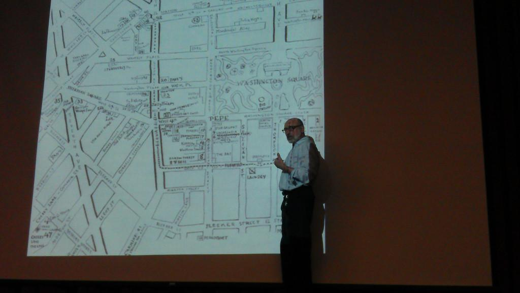 Barry+Lewis+showed+students+the+formation+of+Washington+Square+Park+during+his+Greenwich+lecture+on+Thursday.+