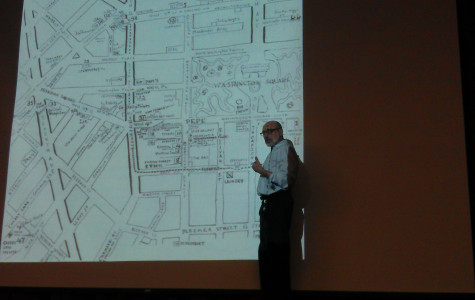 Barry Lewis showed students the formation of Washington Square Park during his Greenwich lecture on Thursday.