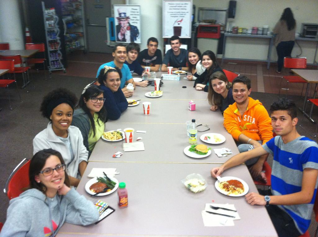 Students+from+Brazil+gathered+for+dinner+at+the+St.+John%27s+Manhattan+campus.+