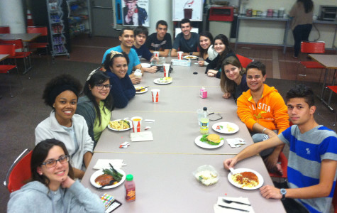 Students from Brazil gathered for dinner at the St. John's Manhattan campus.