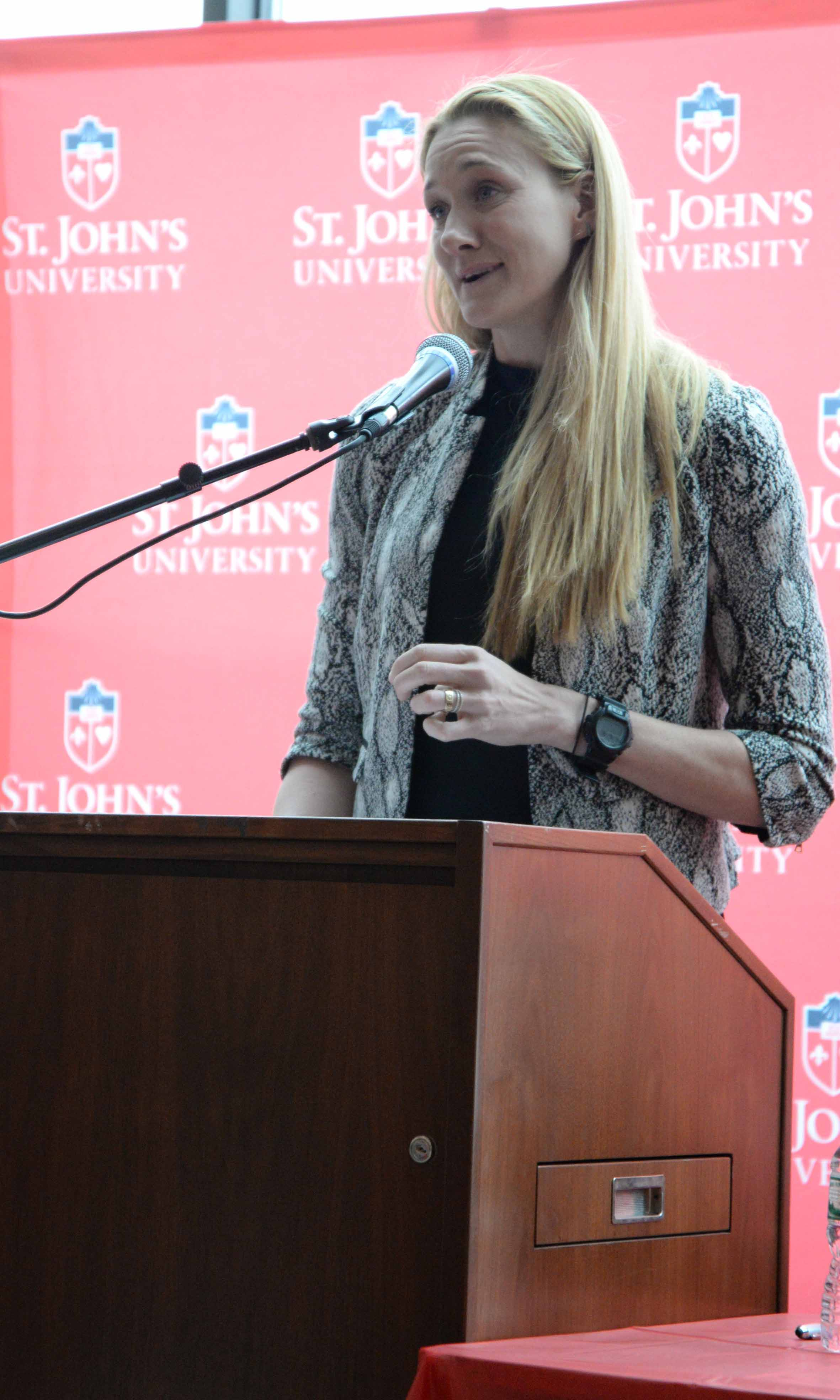 Three-time Olympic gold medalist Kerri Walsh Jennings stops by for Women in Sports Day on Feb. 8.