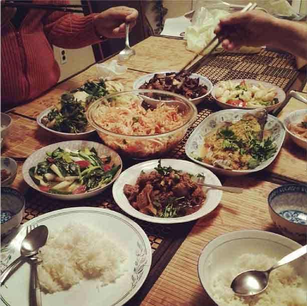 Mike Chien's large feast is typical of many Chinese families celebrating the new year. (Instagram/MikeChien)