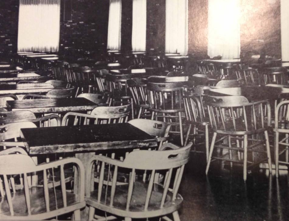 Interior of the Rathskellar where students sat at booths and at wooden tables