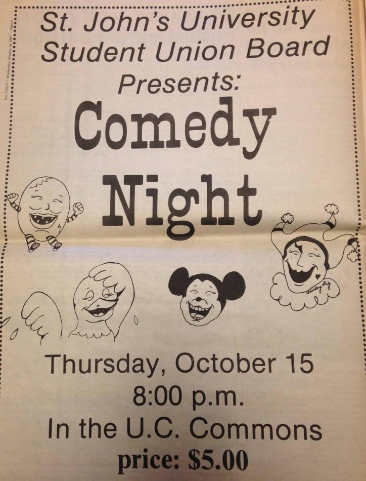 An advertisement for the comedy night held on Thursdays in the Rathskellar. This was a favorite event among students.