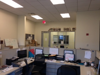 The current Torch office seen from behind the cubicle station. Not pictured is the archives closet to the right.