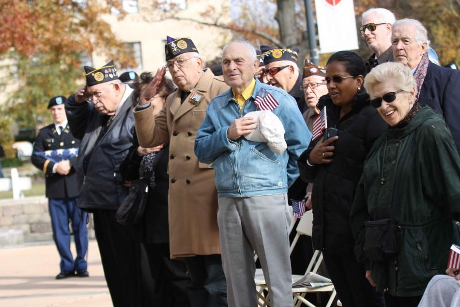 Veterans and their families attended the St. John's annual Veterans Day ceremony, held on the Great Lawn. Photo: Gina Palermo