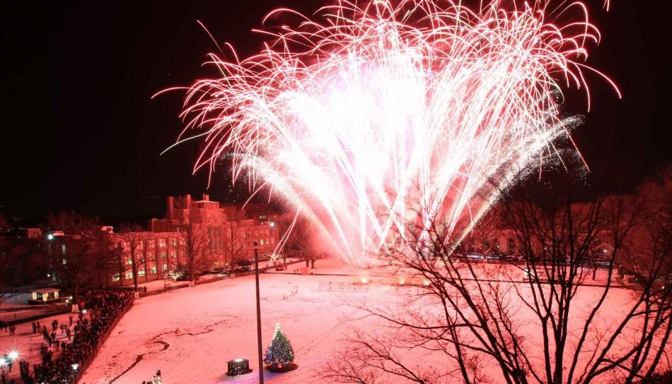 Last year's fireworks display on the Great Lawn was part of the Christmas festivities planned by the University. This year, the University has planned 9 days of events.  Photo provided: St. John's University