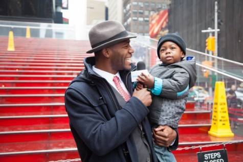 Kevin Thompson with his son.