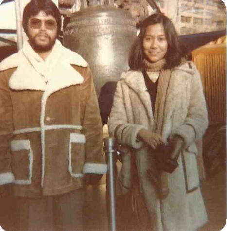 Dr. Gempesaw with his wife Clavel at the Liberty Bell in 1981.