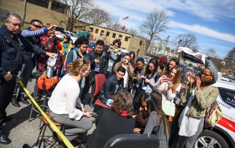 St. John's journalism majors interview students during the mock emergency