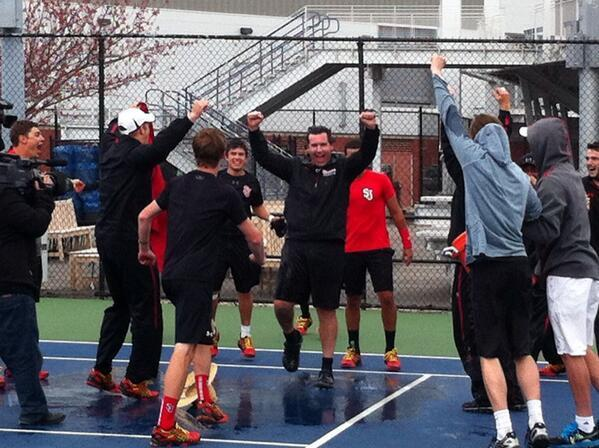 Eric Rebhuhn celebrating the 2014 Big East Championship with the men's team