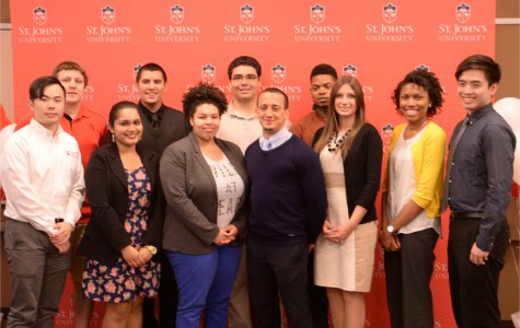 The 4 Award Recipients and some of the 12 semi-finalists that attended the SJU's SHinE event