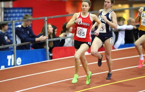 Stephenie Van Pelt  broke a 31-year-old St. John's record in the outdoor 1,500-meter event with a time of 4:27.10.