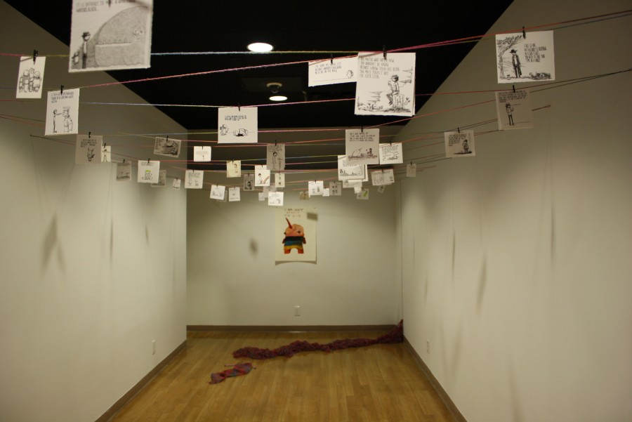A glimpse into the way Odone's exhibit is displayed in the gallery.