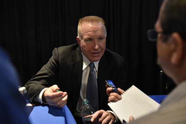 Mullin answered questions at Big East Media Day at Madison Square Garden (Photo: Athletic Communications)