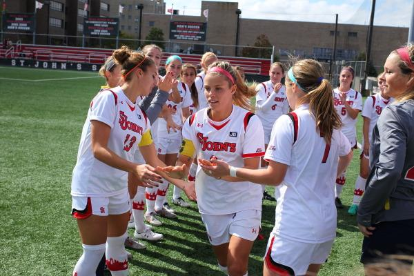 Rachel Daly scored a hat trick to lift St. John's over Creighton Sunday (Photo: Athletic Communications)