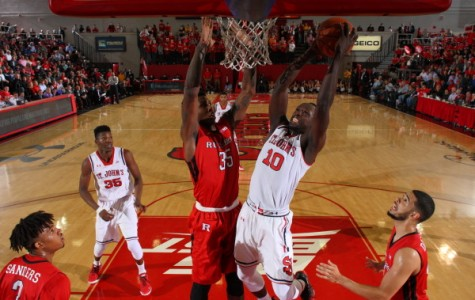 In his first game following reinstatement by the NCAA, Felix Balamou was a huge impact in St. John's comeback win over Rutgers (Photo: Athletic Communications)