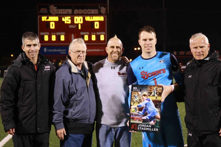 Jordan Stagmiller was honored with three other members of the senior class prior to their final game at Belson Stadium (Photo: Gina Palermo, Torch Design Editor)