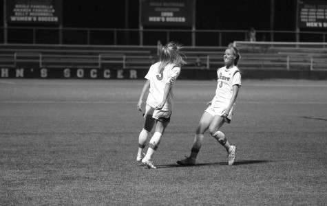 Georgia Kearney-Perry(r.) scored the lone goal for the Red Storm versus Butler in the Big East semifinals. All of the senior defenders career goals have come in postseason play. (Torch Photo: Gina Palermo)