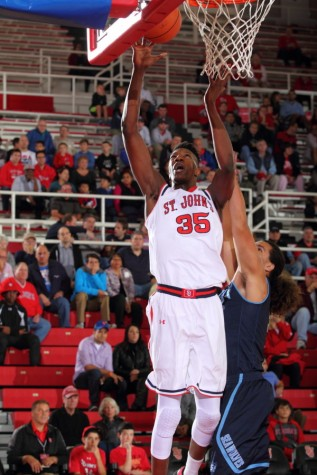 Yankuba Sima displayed why he was a coveted recruit as he scored 16 points to go along with 16 rebounds and eight blocked shots in the Red Storm's 64-46 exhibition win over Sonoma State.  (Photo: St. John's Athletic Communications)