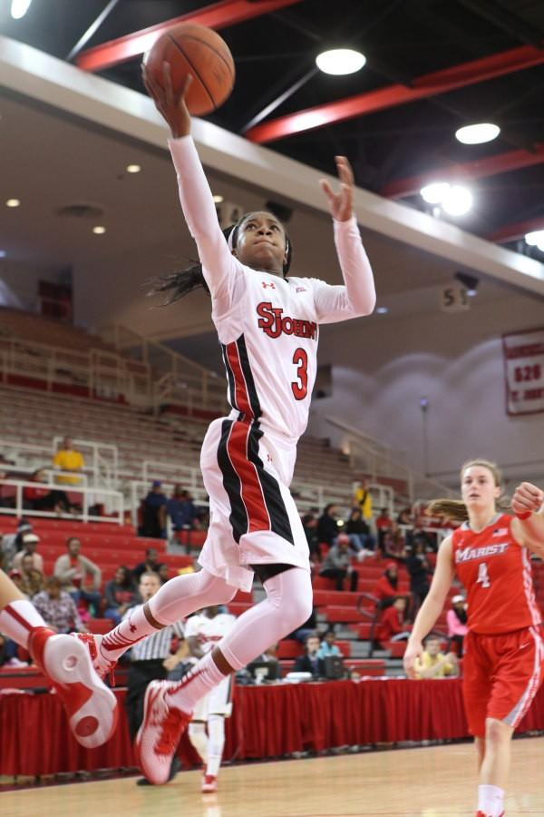 Aliyyah Handford lead St. John's with 19 points, 8 rebounds, and 5 assists to lead the Red Storm to a win in their home opener.