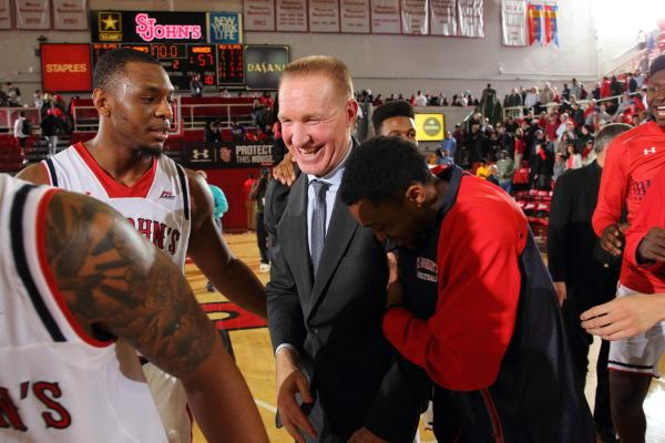 Chris Mullin celebrated his first victory as St. John's head coach Friday night at Carnesecca Arena against Wagner (Photo: Athletic Communications)