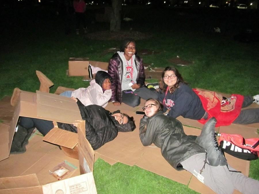 Students+spent+their+Tuesday+night+sleeping+in+cardboard+boxes+on+the+Great+Lawn+in+order+to+raise+awareness+for+the+homeless+in+New+York+City.+