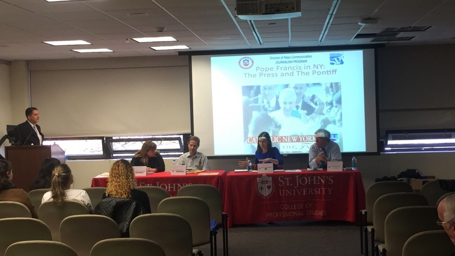 Panelists from Catholic news organizations spoke to students about their experience covering Pope Francis's visit to the United States.