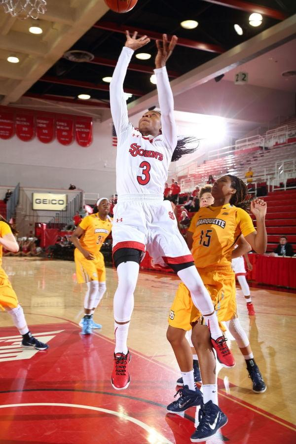 Aliyyah Handford is second in scoring for St. John's as she isaveraging 17.3 points per game this season. (Photo: St. John's Athletic Communications)