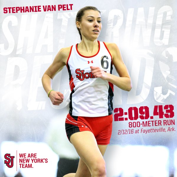 Stephanie Van Pelt broke the school record in the 800-meter Friday w/a time of 2:09.43 (2nd) at Tyson Invite (Graphic: Twitter @StJohnsXCTF)