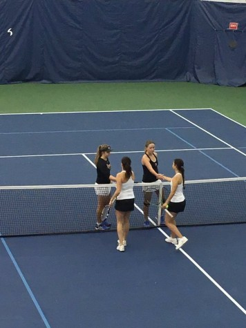 St. John's took the doubles point with a pair of 6-1 victories at the No. 2 and No. 3 positions on Friday. (Photo: @StJohnsTennis, Twitter)
