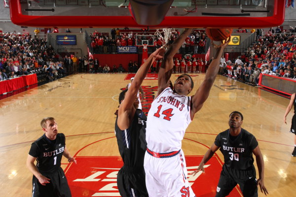 Kassoum Yakwe fights at the rim against Butler (Photo: St. John's Athletic Communications)
