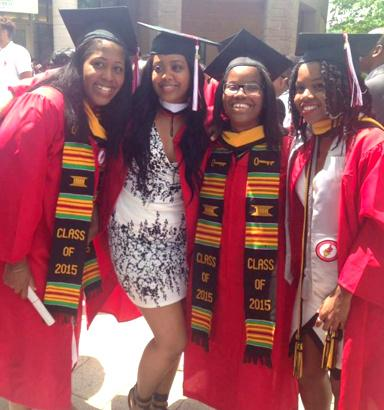 Sutton (left) posing with friends Remy, Arnequa and Tona at their graduation last May. | Photo courtesy of Tona Carter.