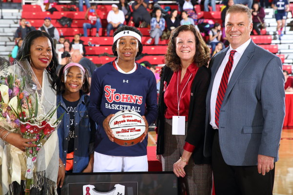 Aliyyah Handford (pictured) and Danaejah Grant were honored for their St. John's careers before their final game at Carnesecca Arena (Photo: St. John's Athletic Communications)