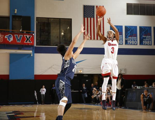 A dominant Aliyyah Handford (game-high 22 points) led St. Johns past Georgetown in the 1st round of the Big East Tournament (Photo: St. Johns Athletic Communications)