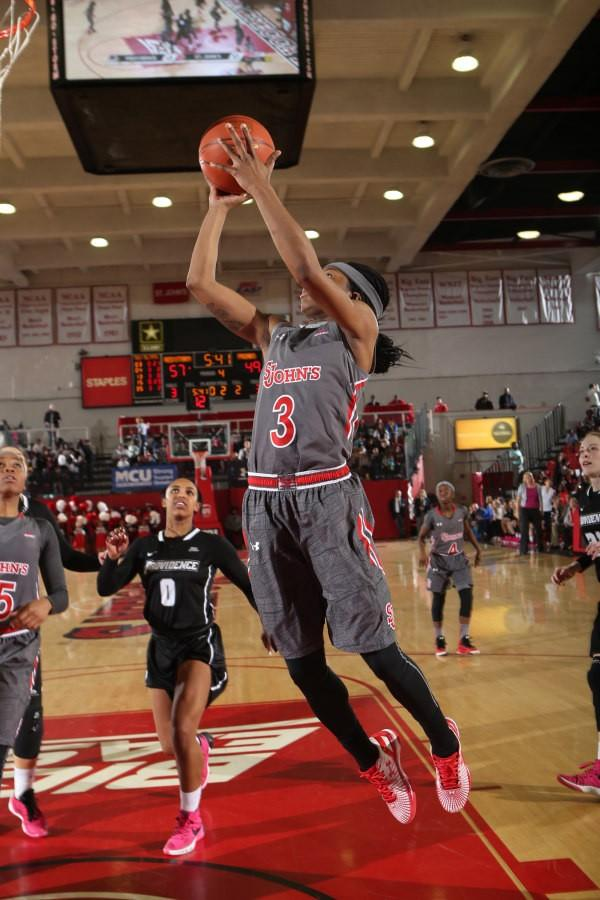 liyyah Handford (3) is now the all-time leading scorer in school history and finished with 27 points in the Red Storm's 69-54 victory over Providence (Photo: St. John's Athletic Communications)