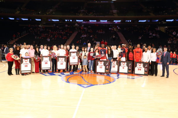 St. Johns honored Felix Balamou (10), Durand Johnson (5) and Ron Mvouika (24) along with Red Storm managers on Senior Day against Providence on March 5, 2016 at Madison Square Garden. (Photo: St. Johns Athletic Communications)