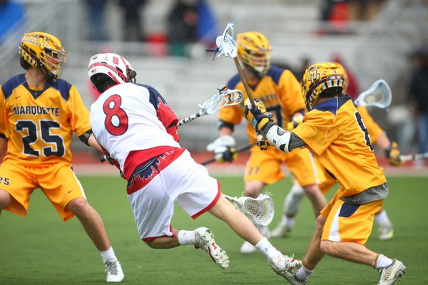 Eric DeJohn had two goals and an assist to lead the Red Storm in a losing effort. (Photo: Twitter/@StJohnsLax).