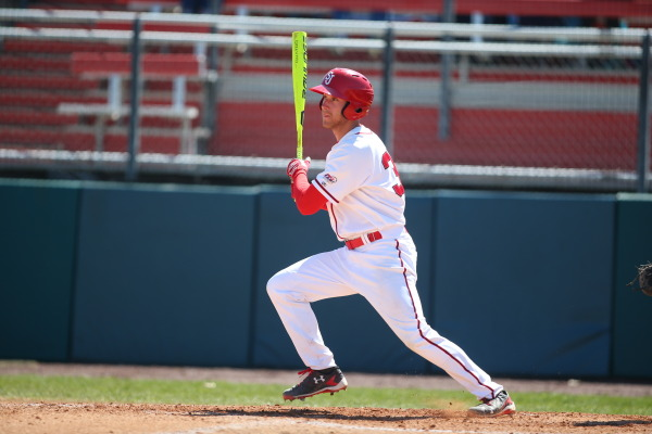 1B Gui Gingras had the go-ahead hit in the eight inning of Sundays 5-4 win. (Photo: St. Johns Athletic Communications).