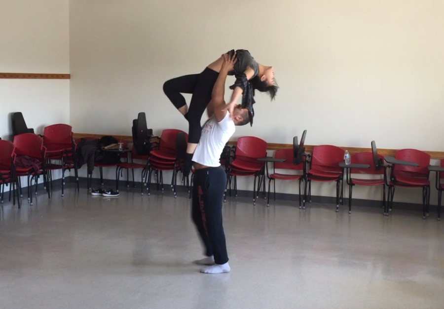Students AJ Watkins and Sylvia Teng rehearsing in Marrillac classroom for Dance Concerts on April 22 and 23.