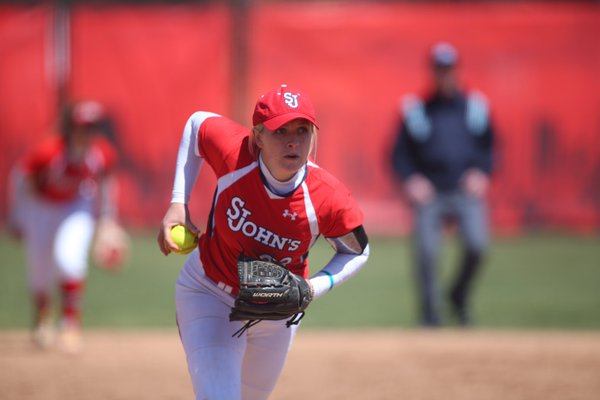Grace Kramer struck out 11 and allowed four runs to lead the Red Storm to a win in game one on Sunday. (Photo: Twitter/@StJohnsSoftball)